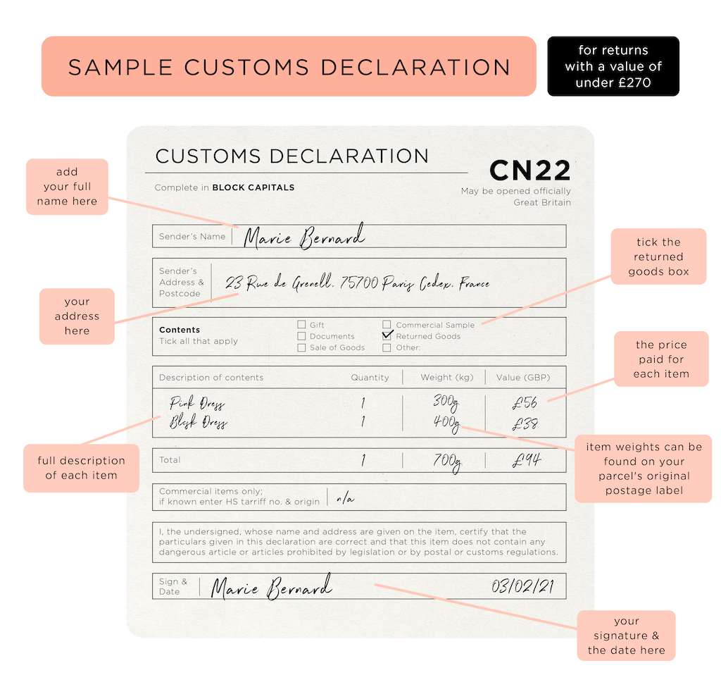 A sample CN22 customs form, for orders with a value under £270